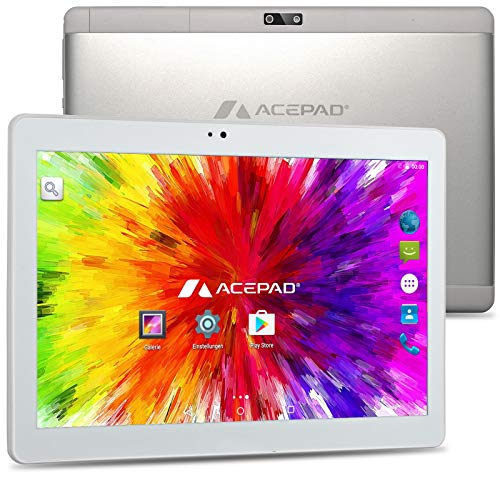 ACEPAD A121 (10.1') 3G Tablet PC, 2GB RAM, 64GB Speicher, Dual-SIM, Android 7.0, IPS HD 1280x800, Quad Core CPU, WiFi/WLAN/Bluetooth, USB/SD (Alu-Weiß/Silber)