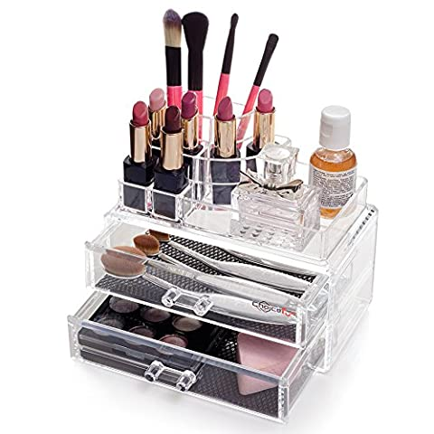 Acrylic Makeup Organiser Top Display Tray 8 Compartments with 2 Drawers Box filling Black Mesh Padding Stackable Choice