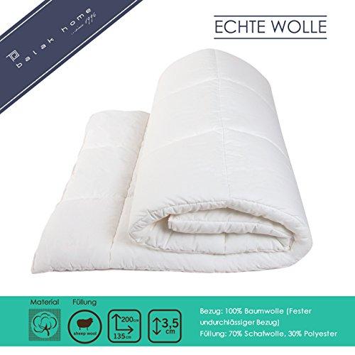 BALAK HOME® Premium Bettdecke Steppdecke Echte Wolle (135 x 200 cm) aus 100% Baumwolle   Echte Schafwolle   Gesundes und wohliges Schlafklima   Original OEKO-TEX   direkt vom Hersteller