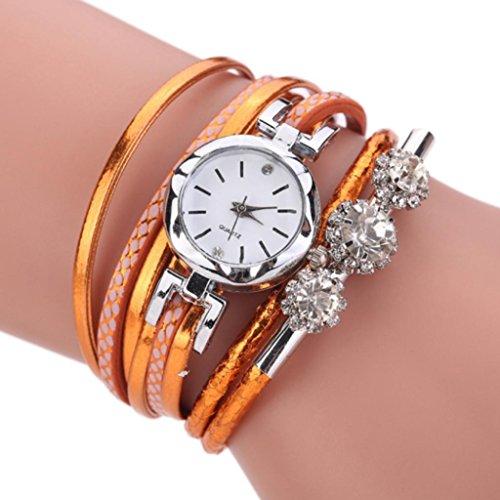 livecity Frauen Multilayers Faux Analog Quarz Leder Armband Armreif Armbanduhr, Orange - Orange-seil-licht