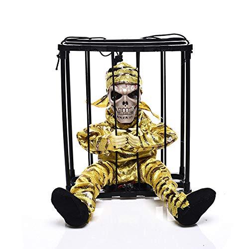 CONRAL Halloween Hanging Caged Animierte Gefängnis Gefangener Skeleton Terror Flashing Light up Prop Spielzeug, mit Bewegungssensor Voice Activated Scary Spooky Halloween Horror Decor,D