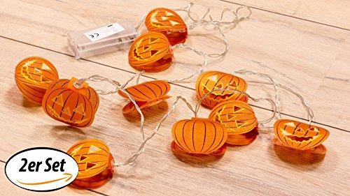 LED-Lichterkette Kürbis, 10 batteriebetriebene LED-Leuchten - Dekoration für Halloween - 2er (Kostüme Batteriebetriebene Lichter Led Für)