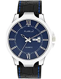 RaMax Analog Stylish Blue Dial Day & Date Watch For Men's