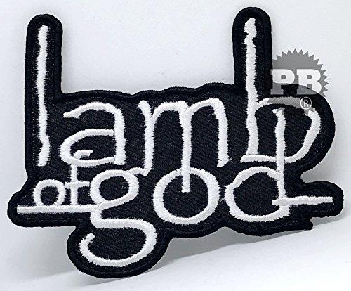 # 974Lamb of God weiß auf schwarz Eisen nähen auf bestickt Patch