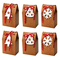 BESPORTBLE 6pcs Christmas Cookie Boxes Christmas Candy Favor Boxes with Snowflake Christmas Tree Socking Shape Gift Tags and Ribbon Christmas Food Storage Containers
