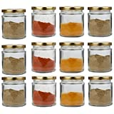 GINOYA BRODHERS Small Glass Jar Set Of 12 Pcs Coming With Metal Golden Color Air Tight And Rust Proof Cap, Capacity 200 Gram About Made In India