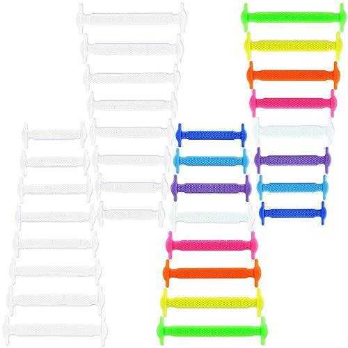 LACCI ELASTICI IN SILICONE PER SCARPE DA GINNASTICA SNEACKERS SPORTIVI 1 paio multicolore 1 paio bianco
