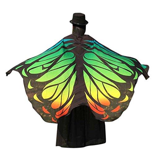 Gewebe Schmetterling Flügel Schal Fee Ladies Nymphe Pixie Halloween Cosplay Weihnachten Ostern Karneval Kleidung Weiche Gewebe Cosplay Kostüm Accessoire (197*125CM, Grün-5) (Fee, Für Halloween-kostüm)