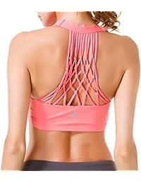 4f9fb4eb37 QK Womens Yoga Sport Bra Medium Support Hand-Knited Nest Back Super Soft  Touch