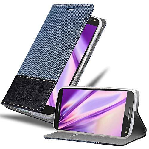 Cadorabo Coque pour Motorola Moto X Style en Bleu FONCÉ Noir - Housse Protection avec Fermoire Magnétique, Stand Horizontal et Fente Carte - Portefeuille Etui Poche Folio Case Cover