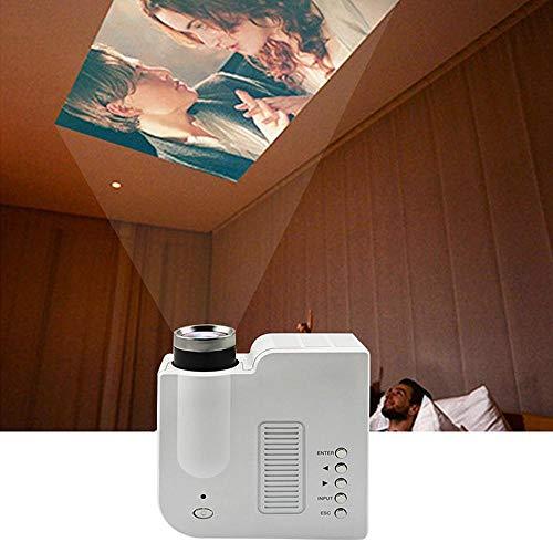 KOBWA tragbarer Projektor, 1080P Mini-Smartphone-LED-Projektor-Heimkino-Theater kompatibel mit Smartphones, PC, Laptop-Projektor für Videofilm-Spiel-Unterhaltungsprojektor, Weiß
