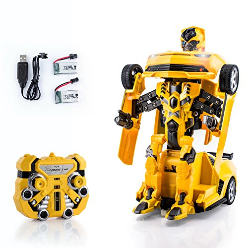Spire-Tech Official Licensed RC Car 2.4Ghz Transformers Bumblebee Style Chevrolet Camaro Remote Control Car with Talking Drifting One Touch Transform Autobot Robot Sound FX Lights Rechargeable Car (Yellow)