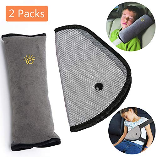 Car Seat Belt Kids Safety Seatbelt Strap Soft Shoulder Pad Cover Head Neck Support With Seatbelt Clip for Children More Comfort on The Journey (Gray)