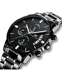 Men's Watches Military Waterproof Sport Chronograph Black Stainless Steel Watch Luxury Design Business Date Calendar Fashion Analogue Quartz Watch