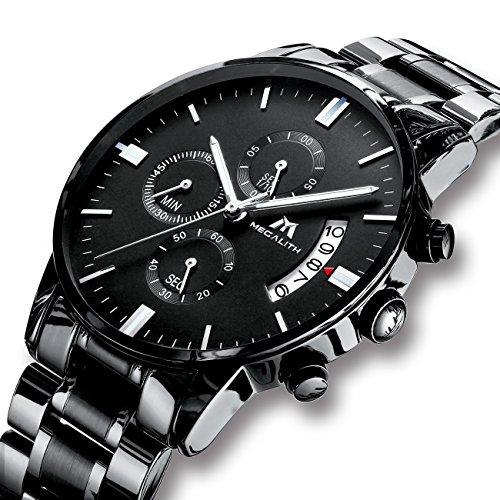 Herren Uhren Männer Militär Wasserdicht Sport Chronograph Schwarz Edelstahl Armbanduhr Luxus Design Business Datum Kalender Modisch Analog Quarzuhr