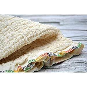 Mulltuch aus Bio-Baumwolle, Halstuch, Spucktuch, Stoffwindel, Musselintuch, Dreieckstuch, Babys, Frühchen, Kinder, Musselin, Mädchen, Junge creme, beige, natur, bunte Naht