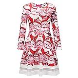 BHYDRY Damen Elegant Weihnachten Karikatur Gedruckt Spitzenkleid Damen Langarm Minikleid(S,Rot c)