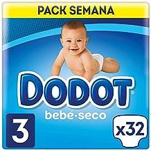 Dodot Bebé-Seco Pañales Talla 3, 32 Pañales, El Unico Pañal Con Canales