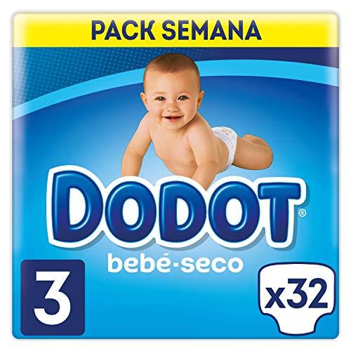 Dodot Bebé-Seco Pañales Talla 3, 32 Pañales, El Unico Pañal Con Canales De Aire, 6-10 kg