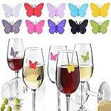 YouU 10 Stück Partygläser-Markern, lustige Silikon-Weinglas-Marker, Charming Butterly Win Glas-Marker, Aufkleber für Weinverkostung