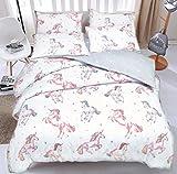 Eirene Threadz Ellephant & Cat & Unicorn Printed Polycotton Duvet Cover Sets with Pillow Cases Bedding Sets (Single, Unicorn)