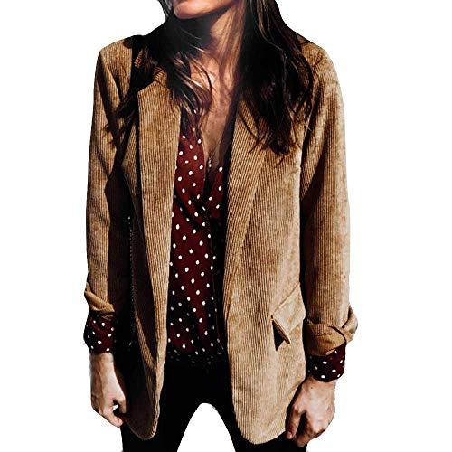 YEBIRAL Manteau Femmes Hiver Couleur Unie Revers Velours côtelé avec Poche Business Coton Blazer Vestes Top (L,Brun Jaune)