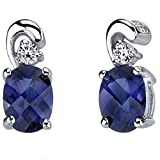 Revoni 925 Sterling Silver Sleek and Radiant 2ct Blue Sapphire Earrings