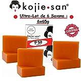 Ultra Pack 6 Original Kojie San Lightening Soaps of 65g, Authentic Kojic Acid Skin Lightening Soap by Kojie San (6 Seifen : 6x65g)