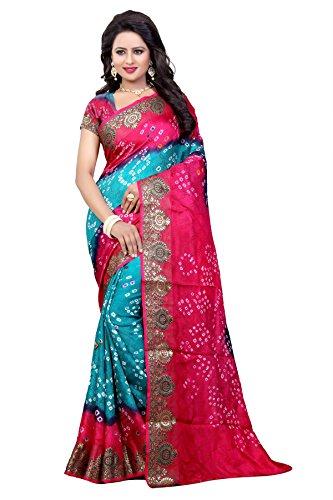 Concepta Women's Art Silk Bandhani Saree (Pink_Free Size)