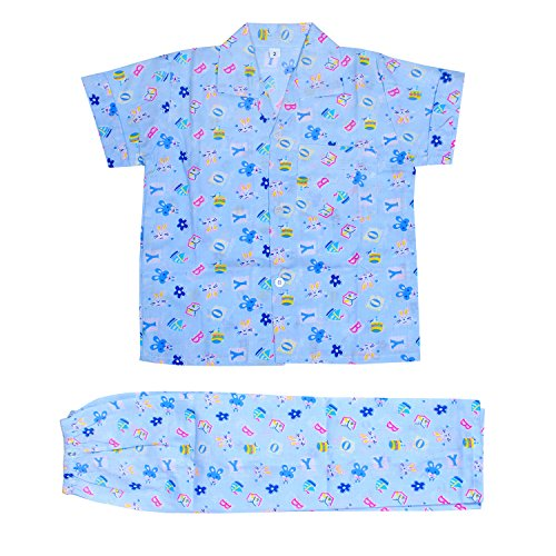 Light Gear Kids Knitted Cotton Sleepwear / Summer Homewear (2 - 10 yrs) Buy Any 2 and Get Rs. 100/- Off (SKY Blue, 5-6 Years)