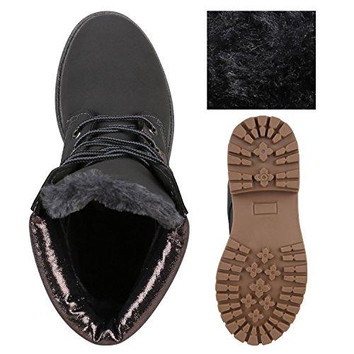 Warm Gefütterte Damen Stiefeletten Glitzer Worker Boots Dunkelgrau