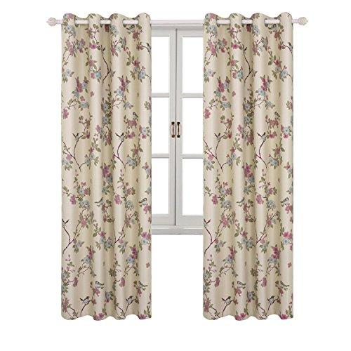 Bgment tende oscuranti con occhielli stampa uccelli orientali fortunati e fiori motivo per sala/ufficio/camera da letto 2 pannelli(2 x 140 x 175cm(l×a),beige)