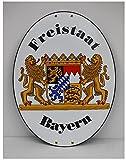 Freistaat Bayern XXL Grenz Emailschild Emaille Schild Freistaat Bayern 45 x 60 cm XXL Grenzschild Email Oval.