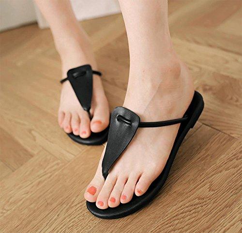 De Confortáveis Verão Sandálias chinelos Preto Couro No Sapatos Fresco De Dedo CYF1Ftq