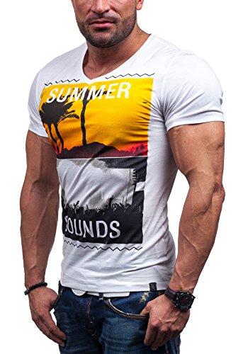 GLO STORY Herren T-shirt Figurbetont Kurzarm NEW! 7450 Weiß