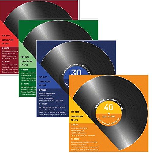 25 x Einladungskarten zum Geburtstag als Schallplatte CD Kassette 4 Farben zur Auswahl