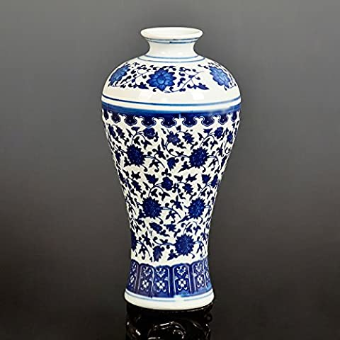 Maivace Ceramic Vase Decorative Ornaments Blue And White Lotus Ceramic Retro Flower Arrangement