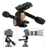 TARION® Q80 Drei-Wege-Neiger Stativ-Kopf Zwei Kipphebel Panorama + Schnellwechselplatte für DSLR Kamera Dreibeinstativ Einbeinstativ