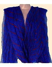 Rajasthan Textile Blue Orange Bandhani Work Art Silk Bandhani Dupatta Pure Rajasthani Bandhej Tie & Dye Leheriya...