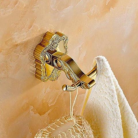 YUPD@Indumento interno sfoderato di bagno intagliato europeo rame placcato oro ganci ganci ganci appendiabiti