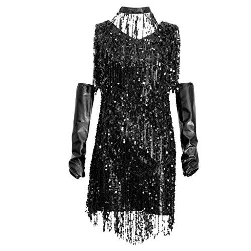 MagiDeal Costumi Abiti da Ballo con Frange Di Paillettes Ballerine Charleston per Donna - Nero argento, M