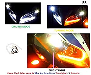 PR Headlight Neon LED DRL Tube Driving White, Turning Yellow Flexible 30cm For All Bike, Scooter Daytime Running Light Bike Motorcycle with and 1 PAIR- For Mahindra Pantero Ss Alloy Digital