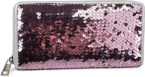 styleBREAKER Portafogli da donna con superficie in paillette reversibili, chiusura con cerniera, portamonete 02040120, colore:Altrose/Silver