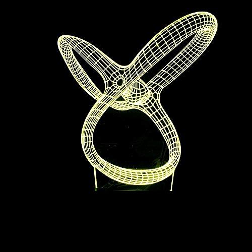 BFMBCHDJ Heißer Verkauf Abstrakte Ring Bunte Farbverlauf 3D Tischlampe Led Acryl Visuelle Stereo Lampe Kreative Usb Touch Tischlampe A3 Schwarz basis + fernbedienung -