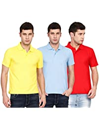 Ojass Solid Men's Polo Neck Yellow, Blue, Red T-Shirt (Pack Of 3)