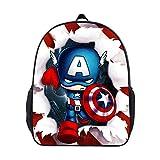 JIAN Sacs à Dos pour Enfants 3D Captain America Imprimer Backpack Toddler Kid Sacs D'école Randonnée Daypacks pour La Maternelle Garçons Filles,B-OneSize