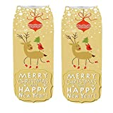 SEWORLD Weihnachten Komfortable Unisex Weihnachten Lustig 3D Mode Beiläufig Socken Gedruckt Niedliche Low Cut Söckchen mit kurzen Söckchen Dicker Anti Rutsch E4