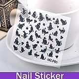 Ozuzu (TM) 5hojas gato negro Elemento de dibujos animados uñas de manicura Stickers Nail Art Designs 3d Nail Art todos los para