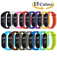Monuary 15 Pieces Straps for Xiaomi Mi Smart Band 4 / Mi Band 3, Colourful Replacement Bracelet in Anti-Lost Silicone Designed Fitness Tracker Accessories