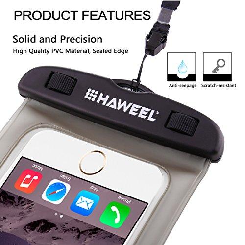 Wasserdichtes Case, HAWEEL ® transparenter Universal Wasserdichte Tasche mit Lanyard für das iPhone 6 & 6 Plus / 6 s & 6 s Plus, Samsung Galaxy S6 / S5 / Note 5, Rosa Black